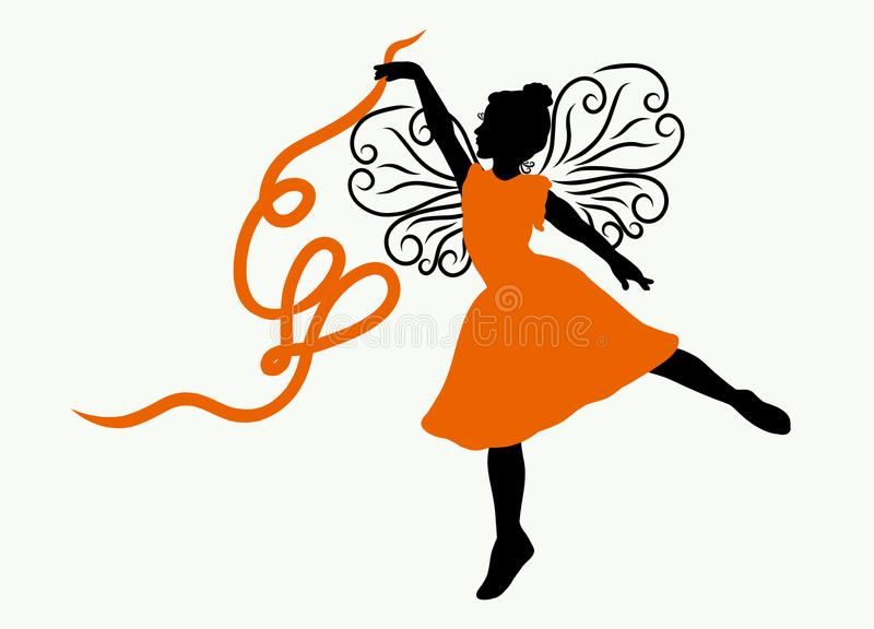 Bambina affascinante con le ali openwork che ballano, cuore dal rubinetto royalty illustrazione gratis