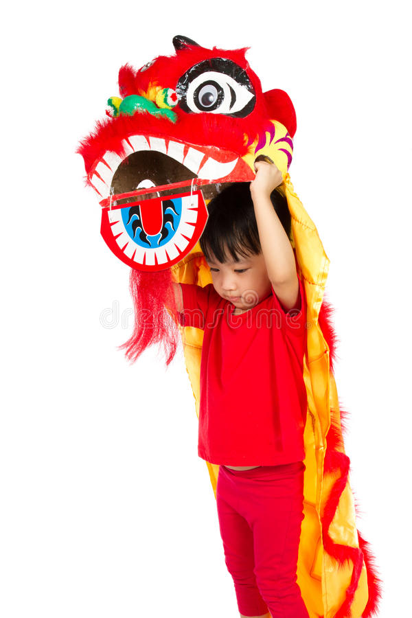 Bambina asiatica in cinese Lion Custome Dance During Chinese N fotografia stock