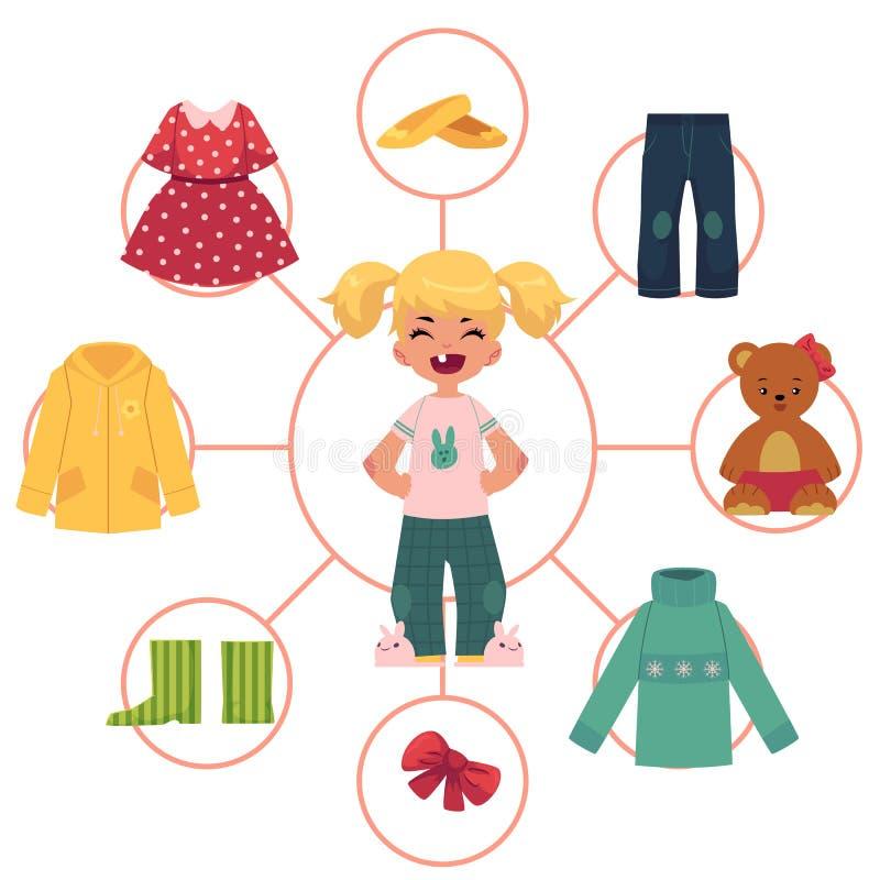 Bambina, bambino, bambino ed il suo guardaroba, vestiti illustrazione di stock