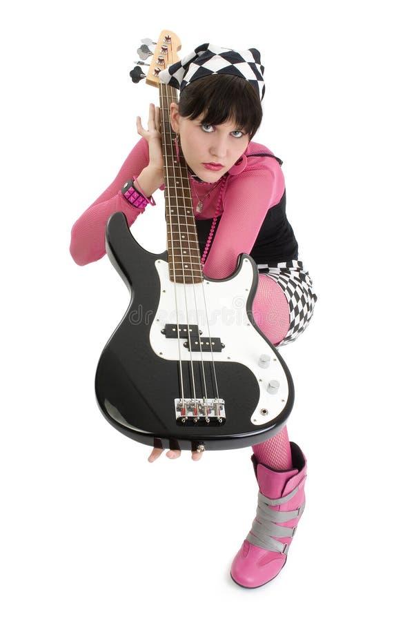 Bambina bassa nel colore rosa e nel nero fotografia stock libera da diritti