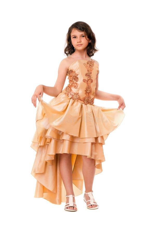 Bambina bella in un vestito da sera immagine stock