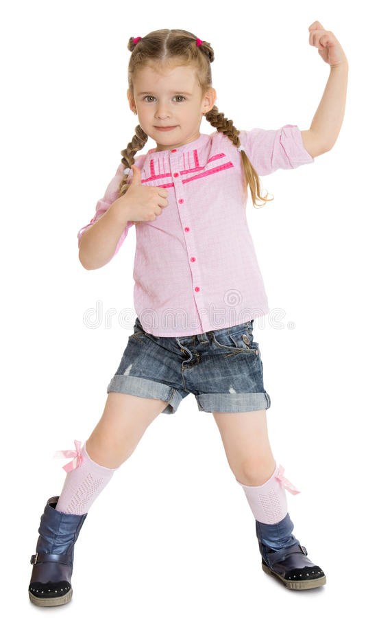 Bambina in breve immagine stock