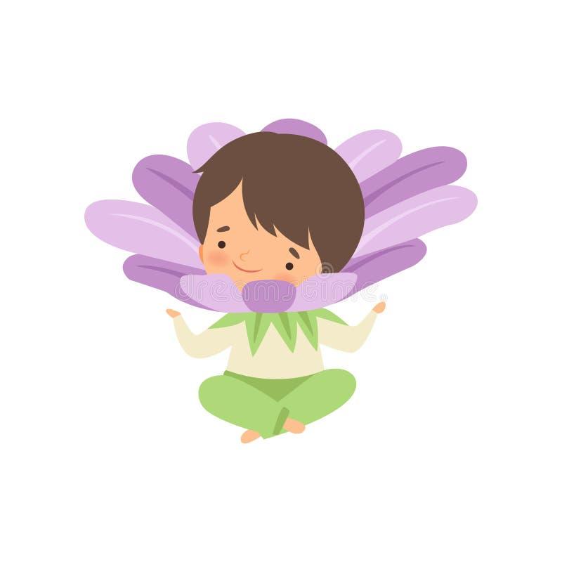 Bambina castana sveglia che porta il costume lilla del fiore, personaggio dei cartoni animati adorabile del bambino nel vettore d illustrazione vettoriale