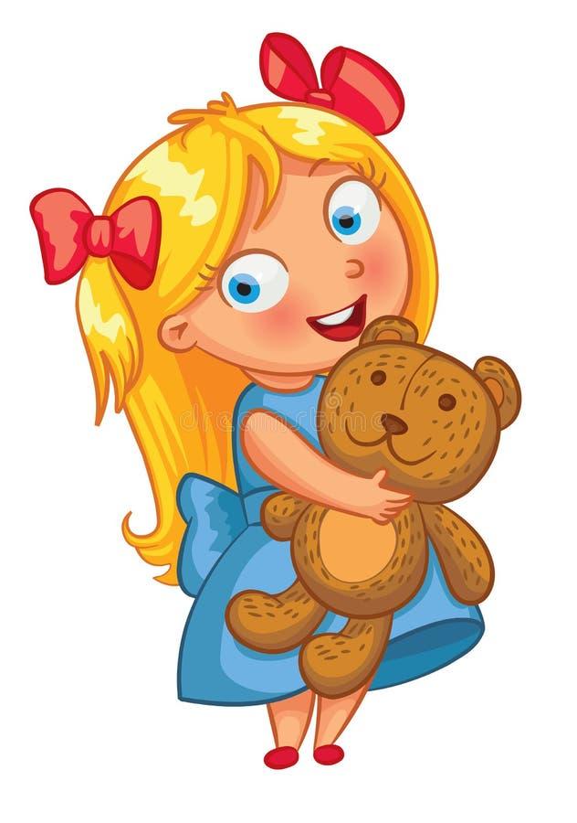 Bambina che abbraccia l'orsacchiotto Personaggio dei cartoni animati divertente royalty illustrazione gratis