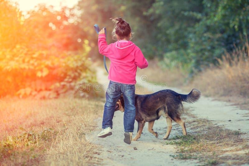 Bambina che cammina con il cane sulla strada campestre fotografie stock