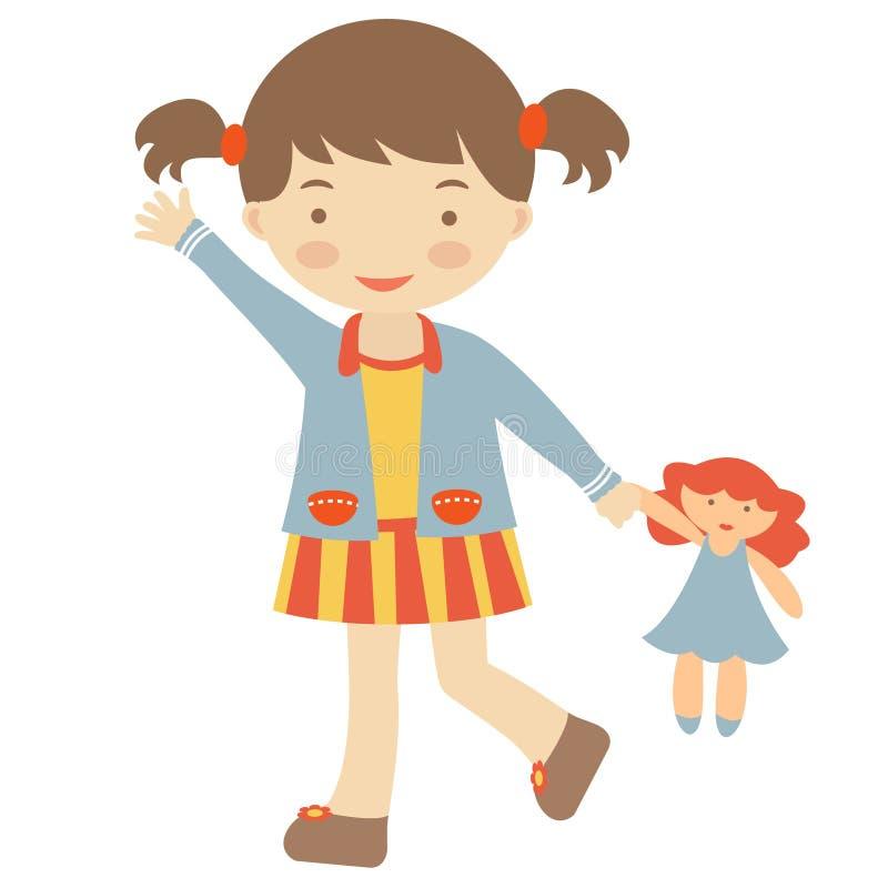 Bambina che cammina con la bambola royalty illustrazione gratis