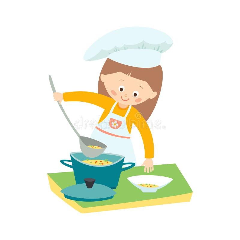 Bambina che cucina una minestra Piccolo cuoco unico Vector l'illustrazione disegnata a mano di clipart di ENV 10 isolata su fondo illustrazione di stock