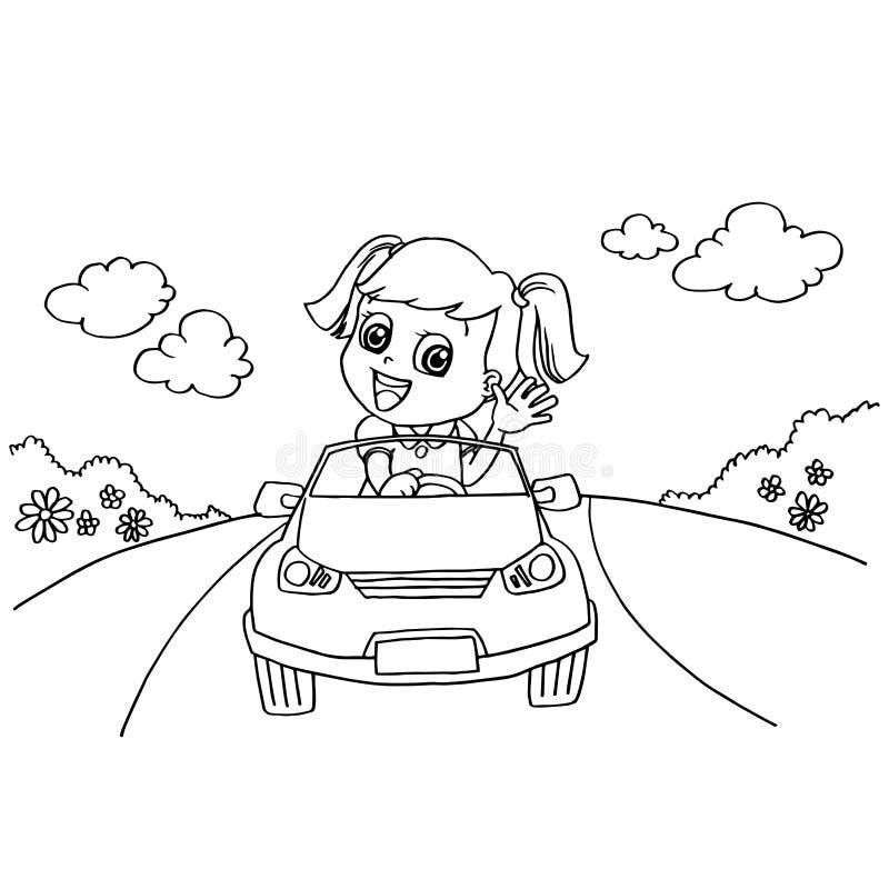 Bambina che determina un vettore della pagina di coloritura dell'automobile del giocattolo illustrazione vettoriale