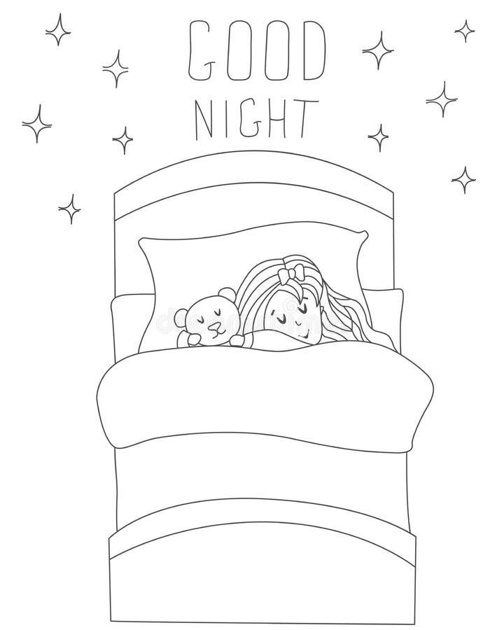 Bambina che dorme bene con il suo giocattolo Scarabocchio disegnato a mano impreciso illustrazione di stock