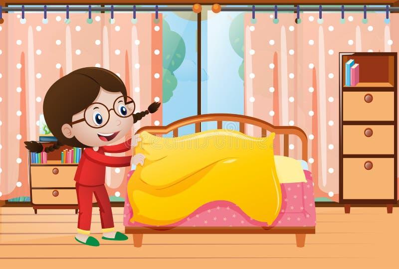 Bambina che fa letto in camera da letto illustrazione vettoriale