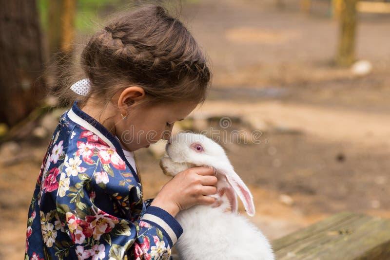 Bambina che gioca con il coniglio bianco all'aperto fotografie stock libere da diritti