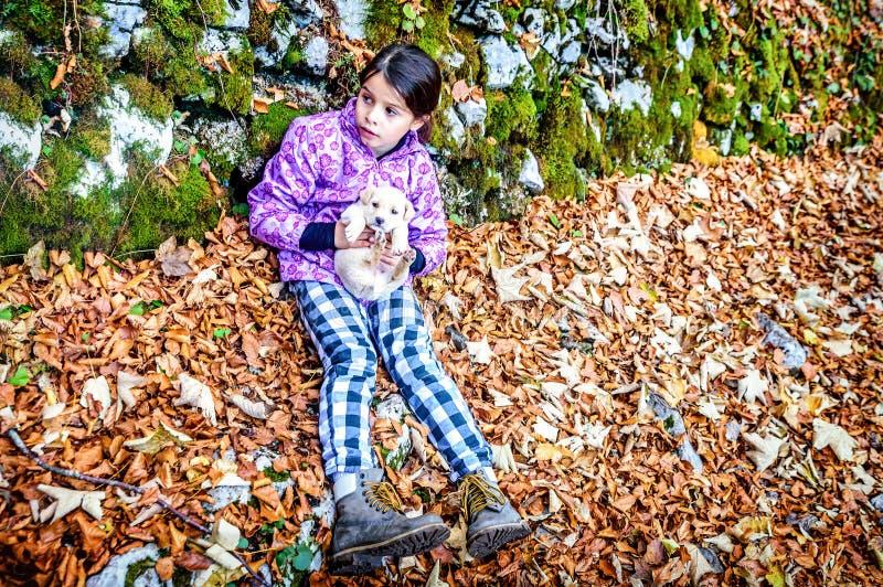 Bambina che gioca con il cucciolo nella foresta fotografia stock
