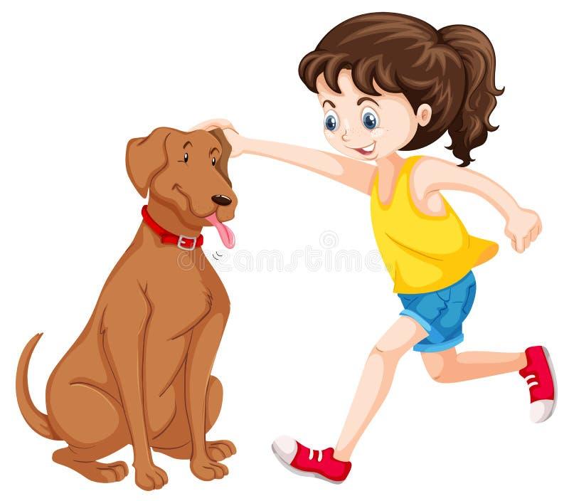 Bambina che gioca con l'animale domestico del cane royalty illustrazione gratis