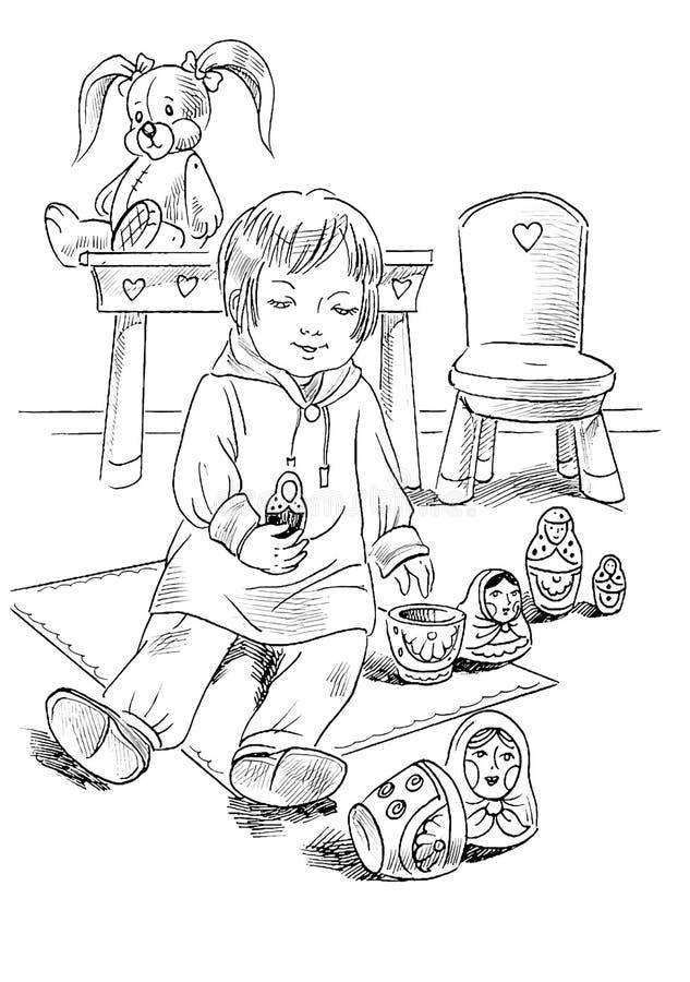 Bambina che gioca con le bambole di matrioshka illustrazione di stock