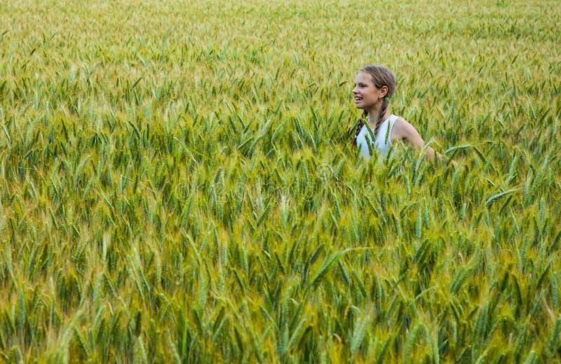 Bambina che gioca nel giacimento di grano un giorno di estate caldo fotografie stock