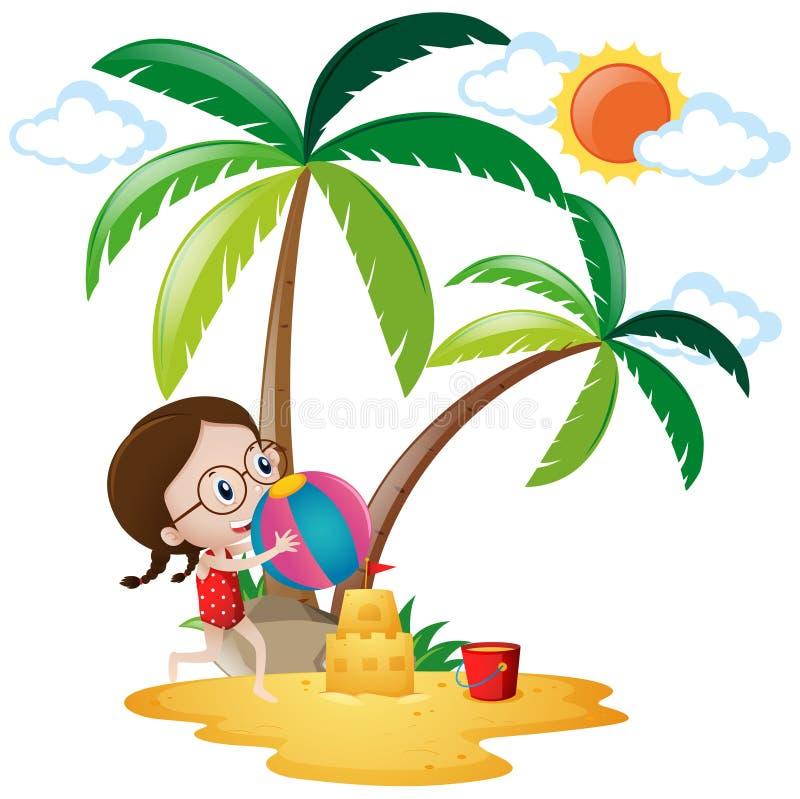 Bambina che gioca palla sulla spiaggia royalty illustrazione gratis