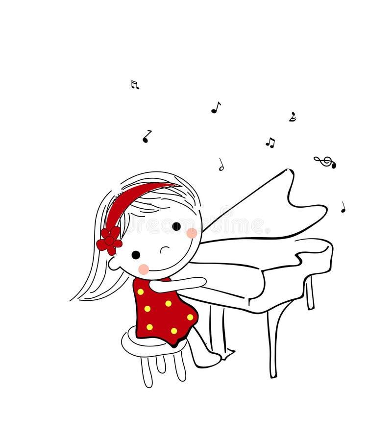 Bambina che gioca piano illustrazione di stock