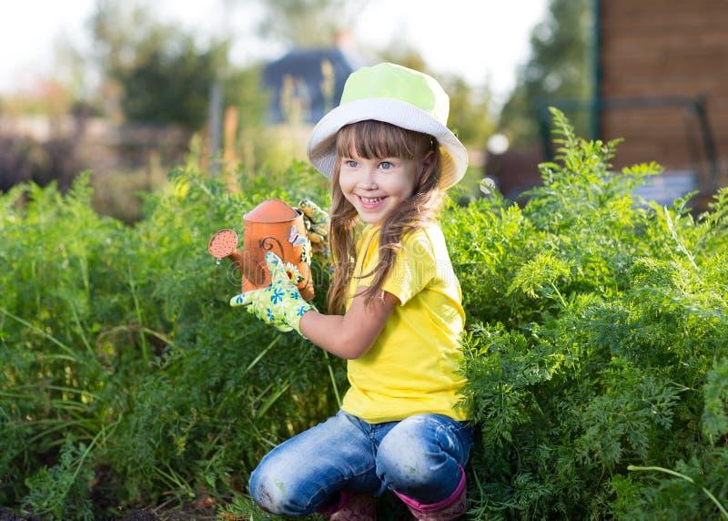 Bambina che innaffia con la latta nelle verdure fotografia stock libera da diritti