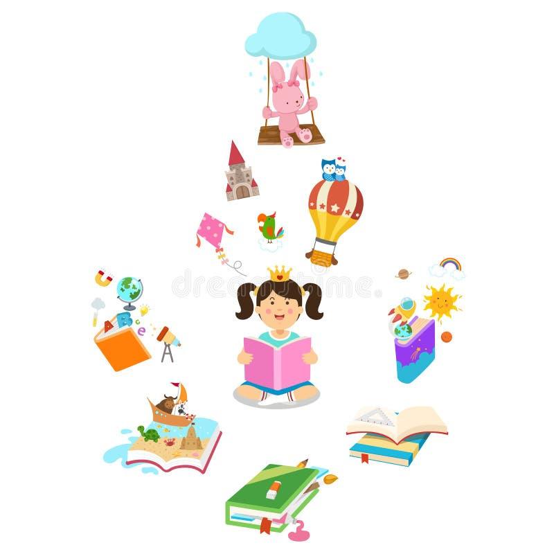 Bambina che legge il libro illustrazione vettoriale