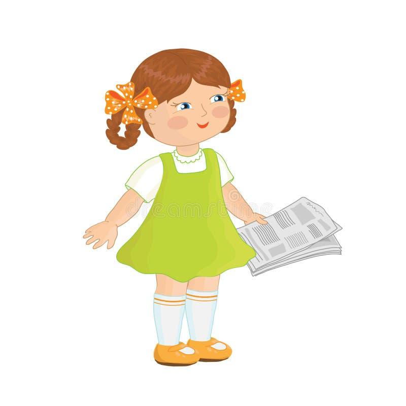 Bambina che legge un giornale illustrazione di stock