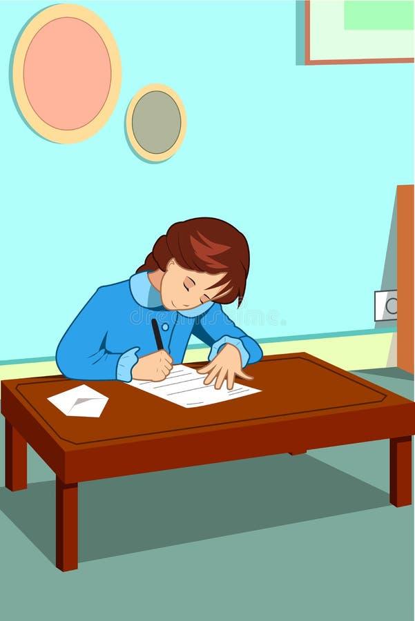 Bambina che scrive un'illustrazione della lettera illustrazione vettoriale