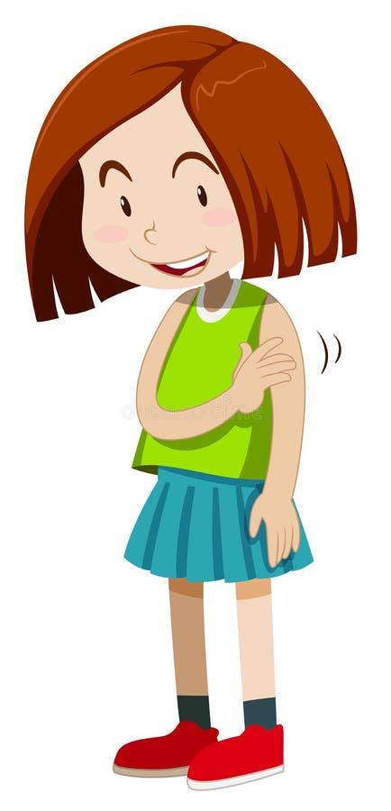 Bambina che sembra timida illustrazione vettoriale