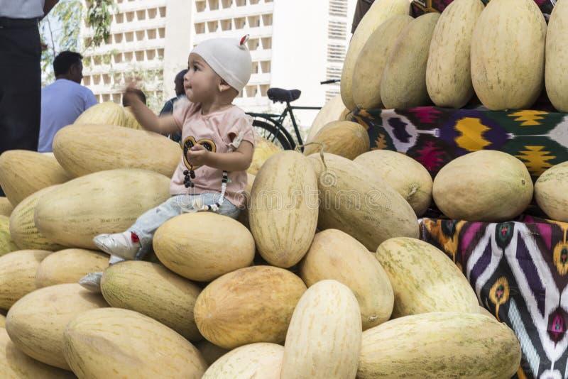 Bambina che si siede sui meloni maturi freschi e sulla posa fotografie stock libere da diritti