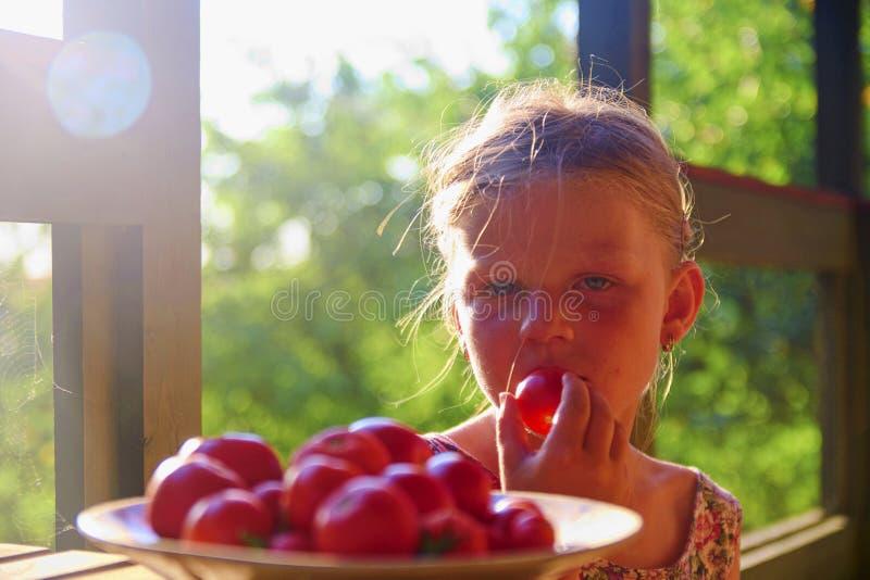 Bambina che si siede sul portico di estate Pomodori sul piatto Immagine vaga e romantica Estate e concetto felice di infanzia fotografia stock libera da diritti