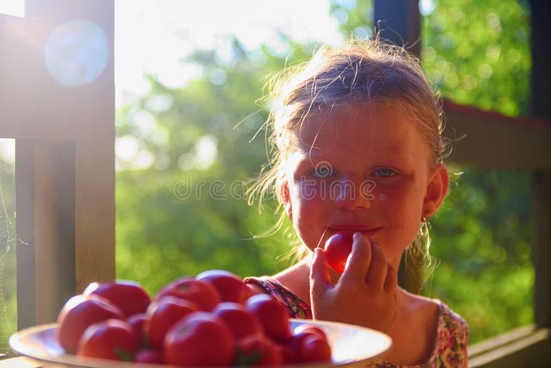Bambina che si siede sul portico di estate Pomodori sul piatto Immagine vaga e romantica Estate e concetto felice di infanzia fotografia stock