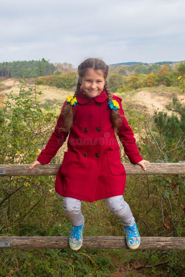 Bambina che si siede sul recinto di legno fotografie stock libere da diritti