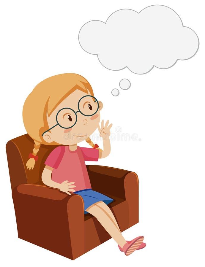 Bambina che si siede sulla poltrona royalty illustrazione gratis