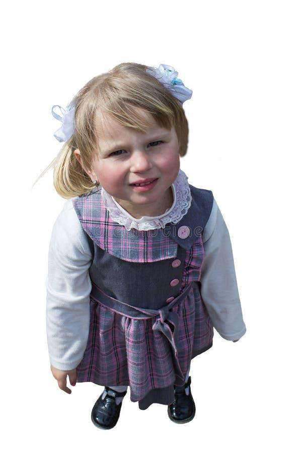 Bambina che sta da sopra fotografia stock