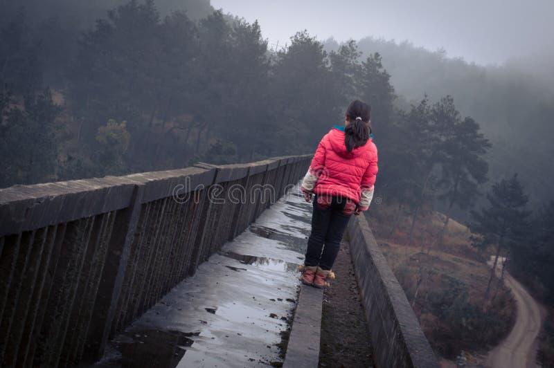 Bambina che sta sul ponte 3 fotografia stock libera da diritti
