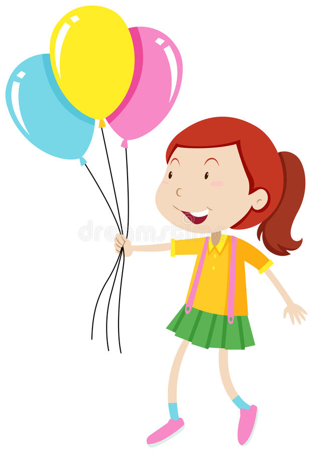 Bambina che tiene tre palloni royalty illustrazione gratis