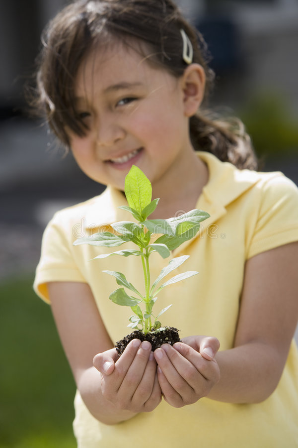 Bambina che tiene una pianta fotografia stock libera da diritti