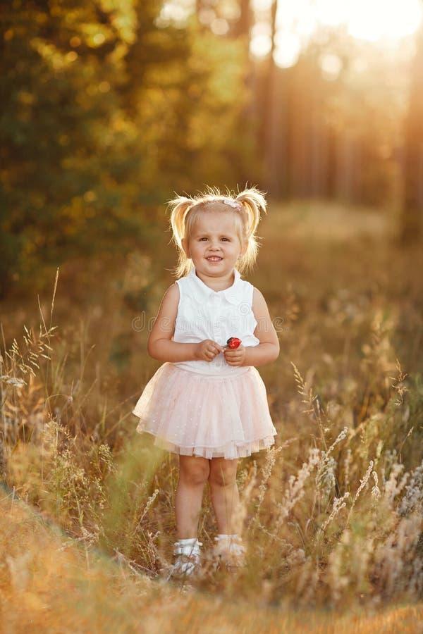 Bambina con due code piccolo bambino piacevole in una gonna rosa La ragazza cammina nel parco al tramonto fotografia stock libera da diritti