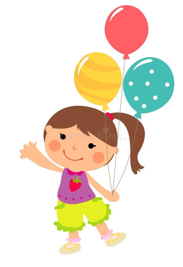Bambina con gli aerostati illustrazione di stock