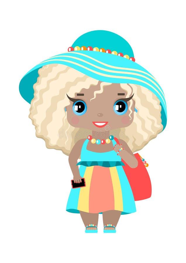 bambina, con gli occhi azzurri ed i capelli biondi ondulati in attrezzatura della spiaggia royalty illustrazione gratis