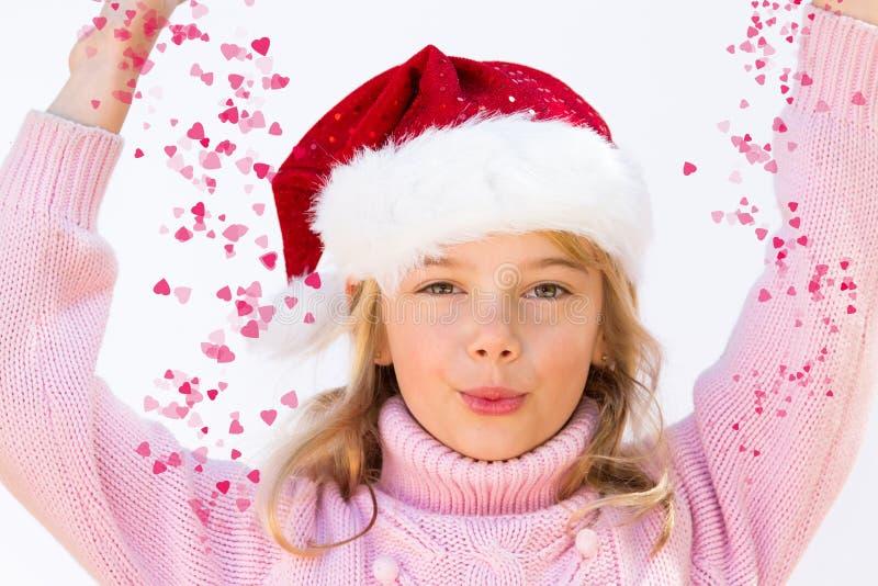 Bambina con i cuori di amore fotografie stock libere da diritti