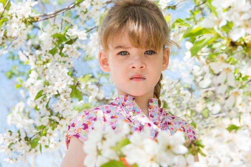 Bambina con i fiori fotografie stock