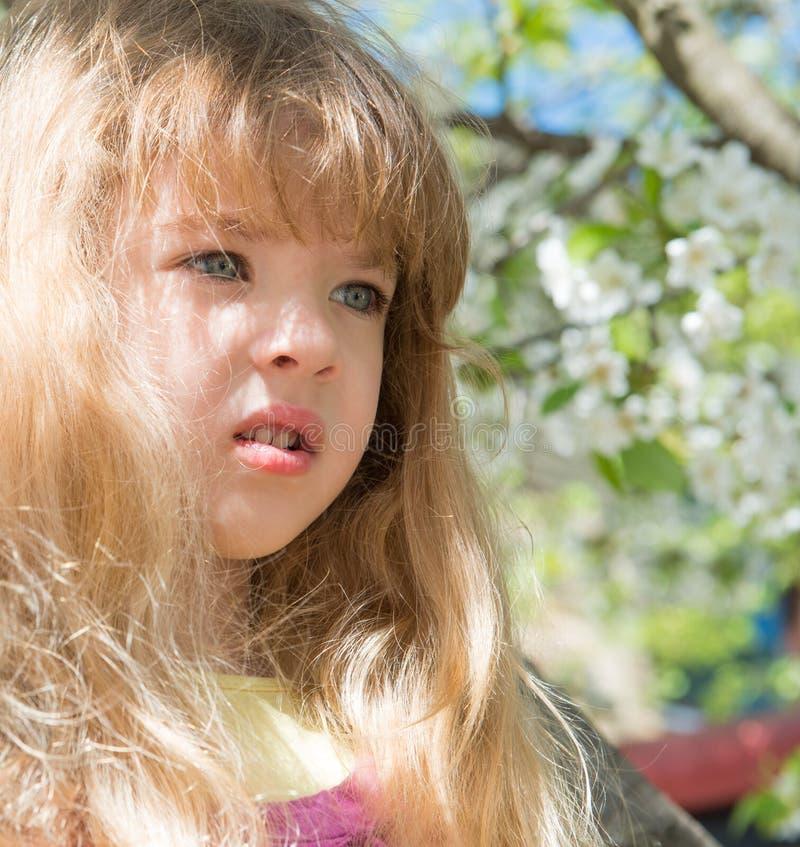 Bambina con i fiori immagini stock