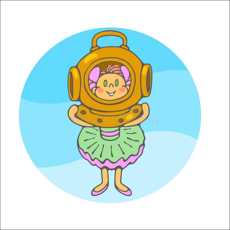 Bambina con il casco di immersione subacquea fotografie stock