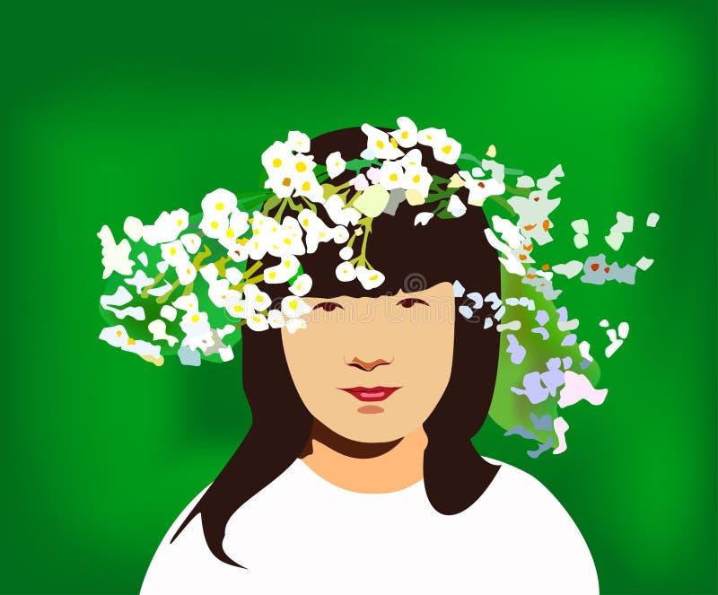 Bambina con il circlet dei fiori illustrazione vettoriale