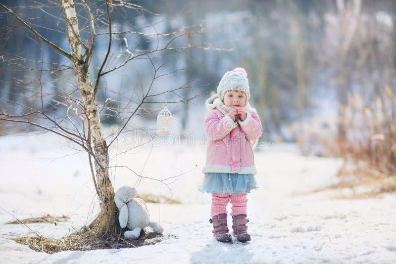 Bambina con il coniglietto della peluche immagine stock