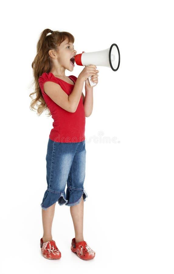 Bambina con il megafono immagine stock