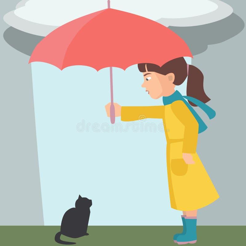 Bambina con il vettore del gattino e dell'ombrello royalty illustrazione gratis