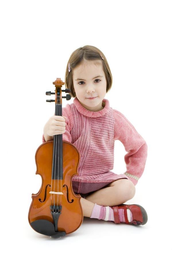 Bambina con il violino fotografia stock