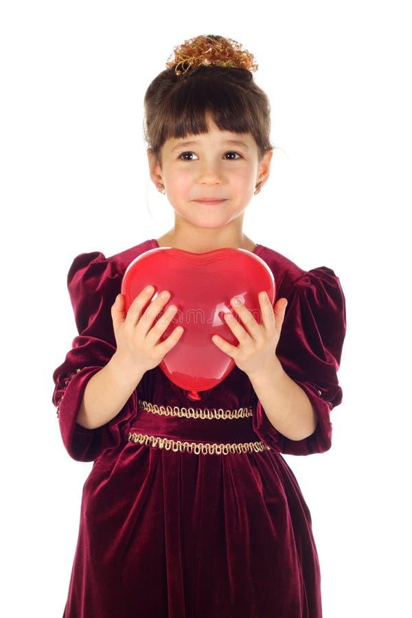 Bambina con l'aerostato rosso immagini stock