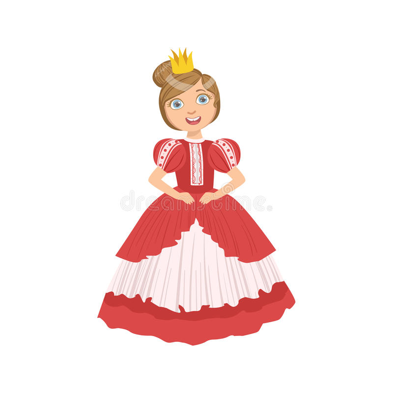 Bambina con l'alta pettinatura vestita come principessa di fiaba illustrazione di stock
