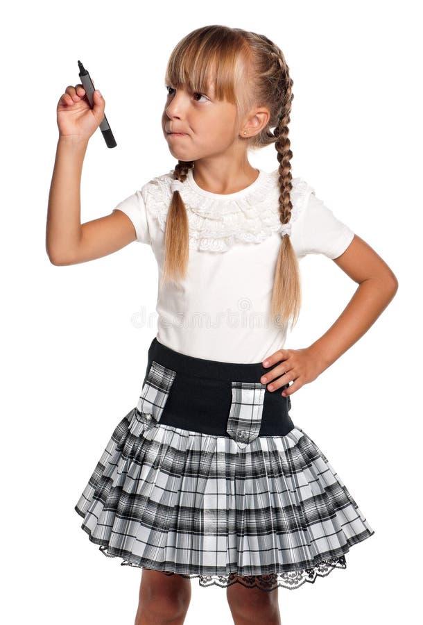 Bambina con l'indicatore immagine stock libera da diritti